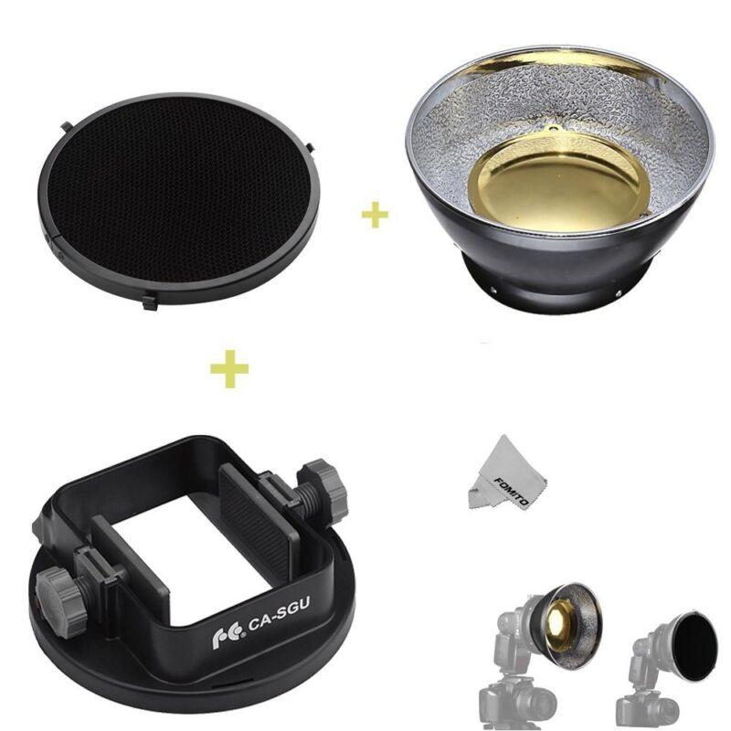 Honeycomb & Reflector & Flash Adapter for Canon Nikon Yongnuo Godox Speedlight