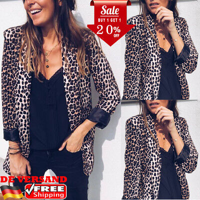 DE Damen Leopard Winterjacke Sakko Blazer Anzugjacke Cardigan Jacke (Leopard Anzug)