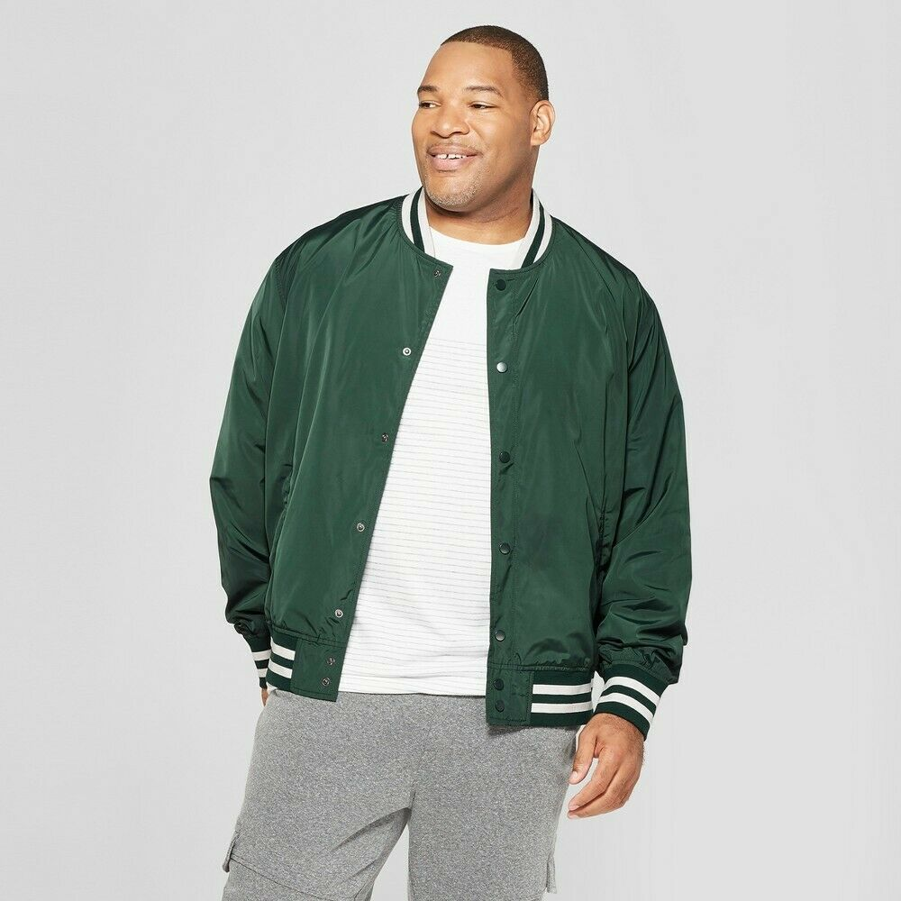Goodfellow & Co Men's Big & Tall Varsity Bomber Jacket –  Forest Green 3XB Clothing, Shoes & Accessories