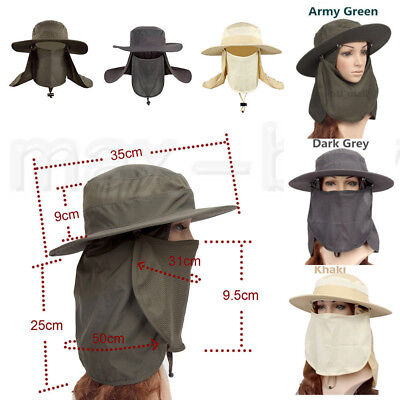 Fishing Farmer Wide Brim Cap Neck Face Flap Outdoor Work Sun Protection Hat USA