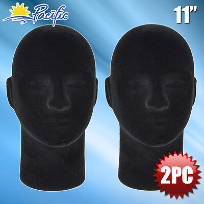New Male Styrofoam Foam Black Velvet Mannequin Head Display Wig Hat Glasses 2pc