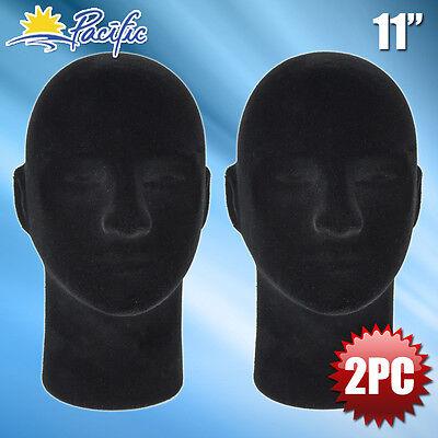 New Male Styrofoam Foam Black Velvet Mannequin Head Display Wig Hat Glasses 2pc