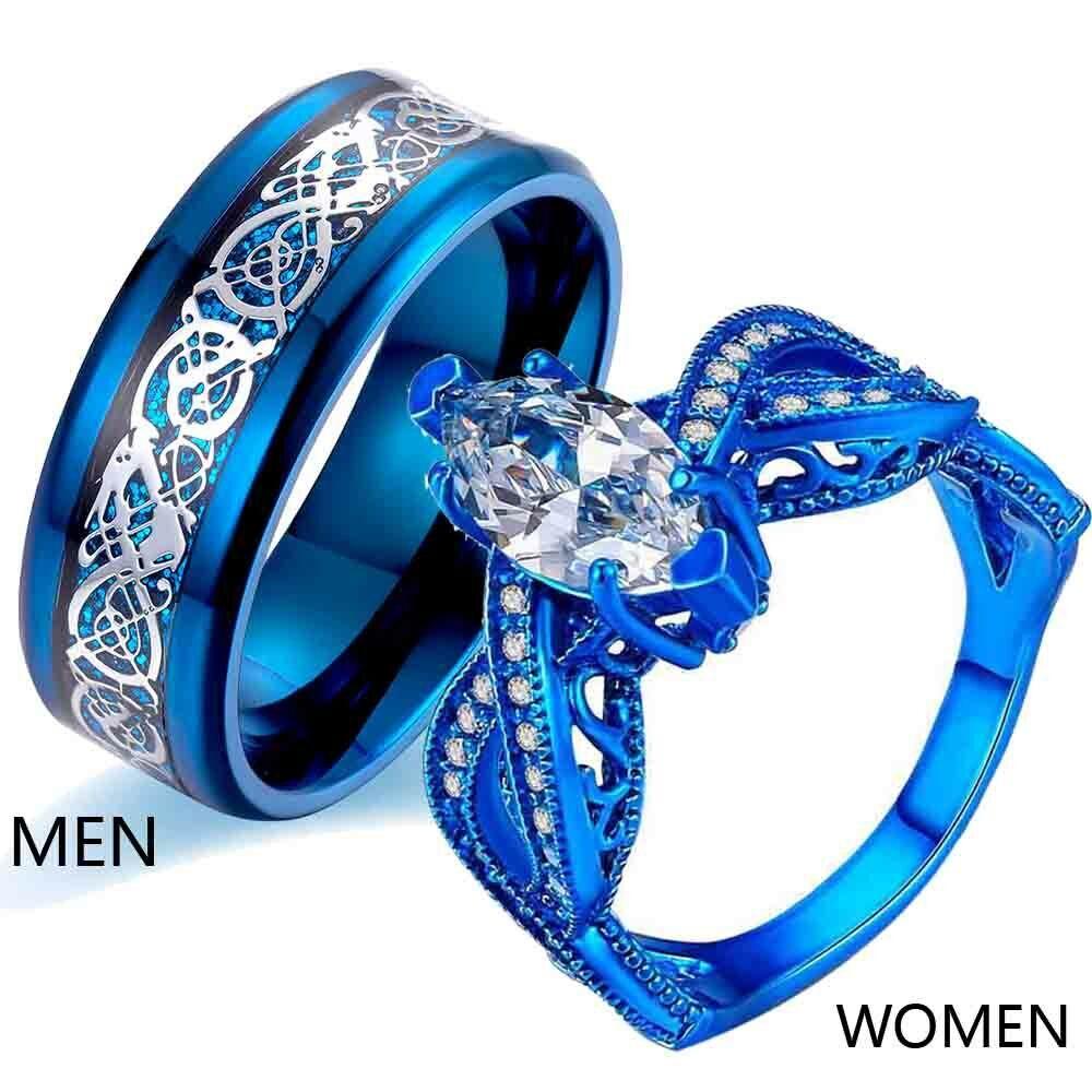 Couple Rings Titanium Steel Men Wedding Band Blue Rings CZ W