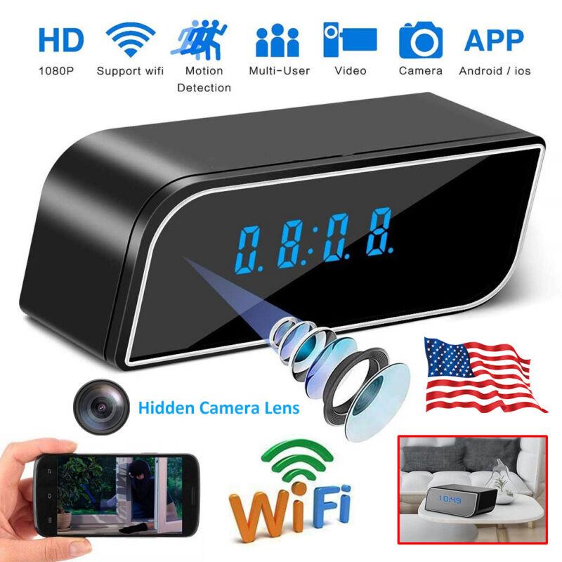 1080P Alarm Clock Camera Clock WiFi Wireless Night Vision Security Nanny Cam US