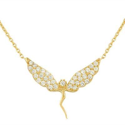 Plata de Ley Oro Amarillo Fairy Abalorio Niña Cristales Blancos Cz Colgante