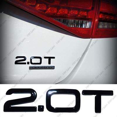 New Black 2.0T Logo Rear Badge Wing Gloss Emblem wing Sticker Adhesive For AUDI