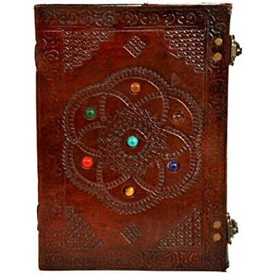 Huge Leather Journal Chakra With Stone Blank Book Of Shadows Large Clasp Lock 7