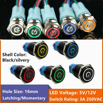 Latching Push Button Switch 1no1nc Metal Shell Power Led For 16mm Mounting Hole