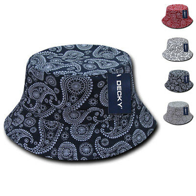 Decky Paisley Bandana Design Fitted Bucket Boonie Hats Caps Cotton 2 Sizes - Bandana Bucket Hat