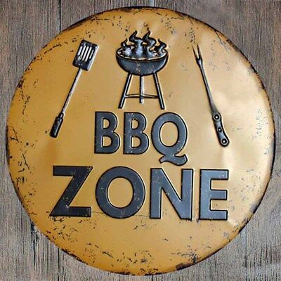 BBQ Barbecue Zone 12inch Round Metal Sign Novelty Cook Grill Wall Painting Decor