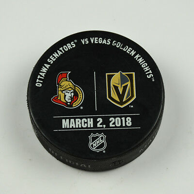 Vegas Golden Knights Warm Up Puck Used 3/2/18 VGK Vs Ottawa Senators Game