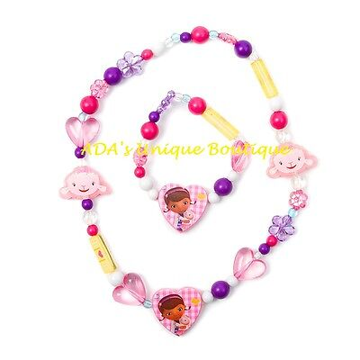 Disney Doc McStuffins Lambie Beaded Bracelet and Necklace Set Hearts Flowers NWT](Doc Mcstuffins Bracelet)