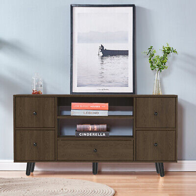 Modern TV Stand Wooden Cabinets w/ Storage 5 Drawers Living Room Home Officer US