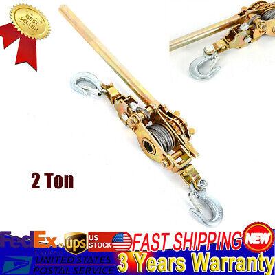 2 Ton Heavy Duty Hand Puller Come Along Cable Hoist Hooks 4400lb Come Along