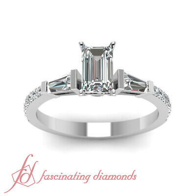 Pave Set 1.15 Ct Emerald Cut Conflict Free Diamond Engagement Ring GIA Certified 1