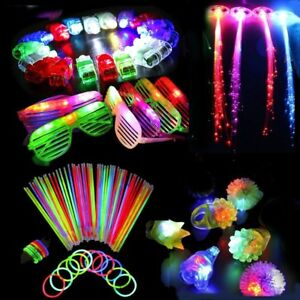 60PCS LED Light Up Glow Party Favors Wedding Toys Flashing Ring Rave  Glasses New