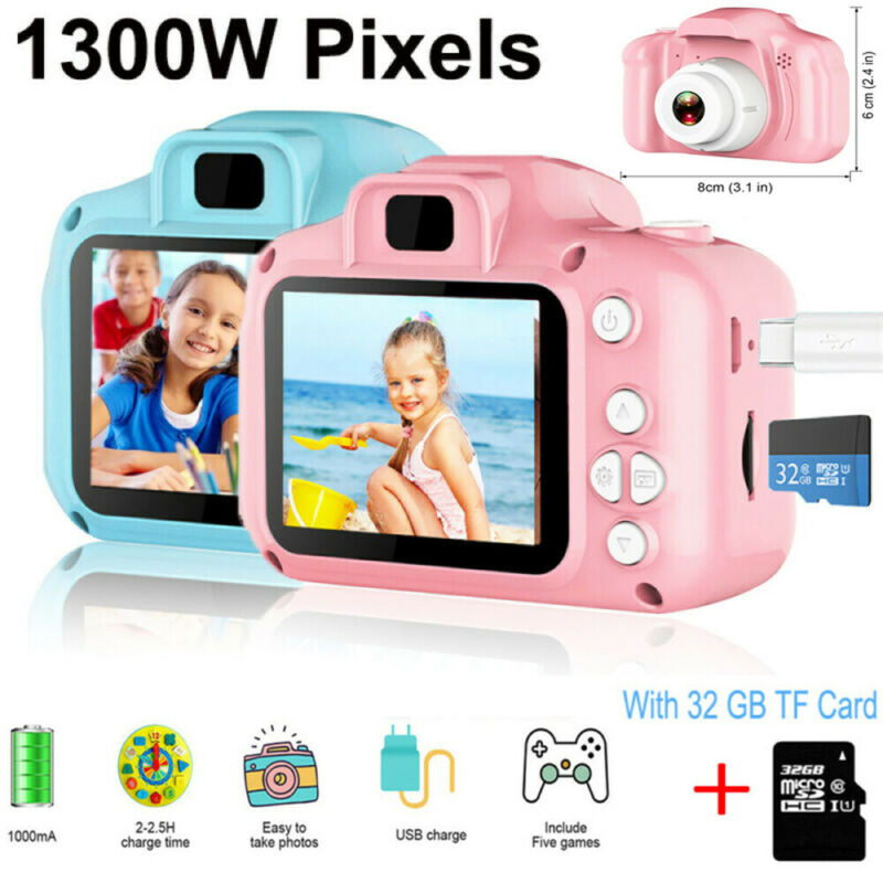 Kinderkamera Digitalkamera Full HD 1300W Für Kinder Foto Cam Urlaub Geschenk DHL