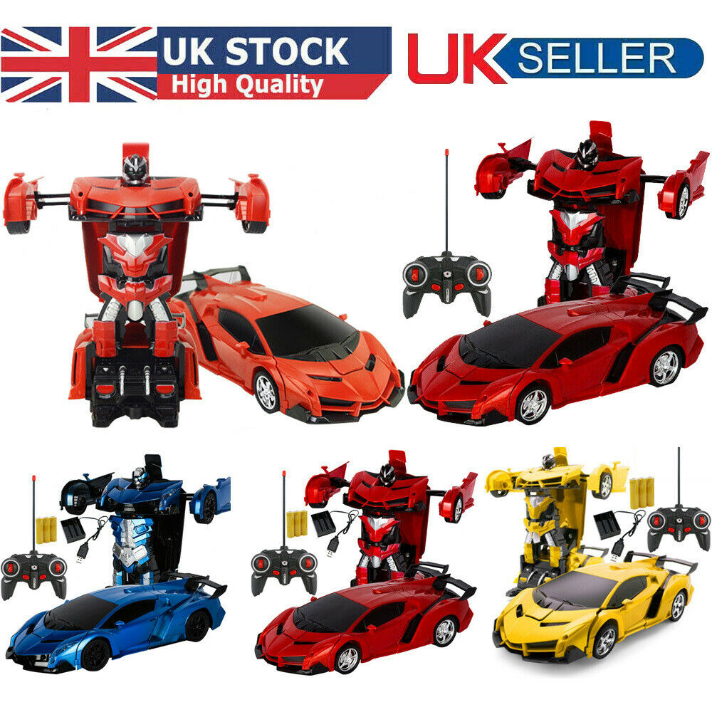 Remote Control Transforming Robot Race Car with Light /& Engine Sound Red
