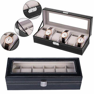 6 Slot Box Holder Organizer Unisex Leather Watch Storage Jewelry Display Case
