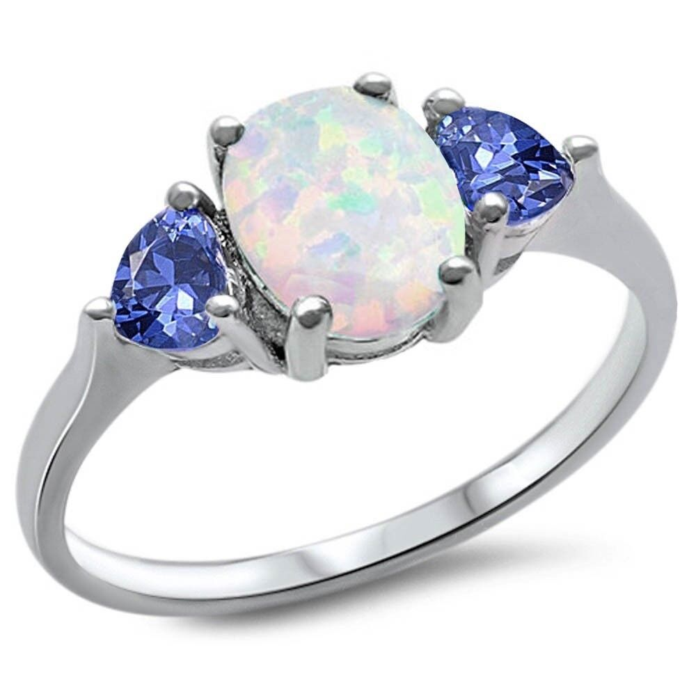 Oval Tanzanite /& Cz .925 Sterling Silver Ring Sizes 4-12