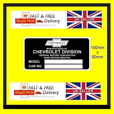 Car ID Identification Tag VIN Plate Chevrolet CHEVVY blank vin plates ALL MODELS