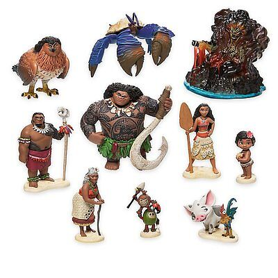 Disney Moana Figure Pack 10 Piece Play Set Toy Kids Delux New Free
