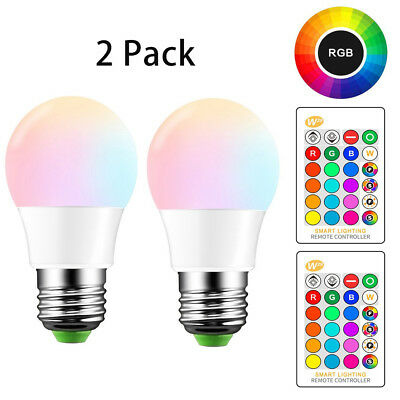 Led Light Bulbs Night Light Bulb Dimmable Color Lamp E26 5W RGB + Remote 2 Pack