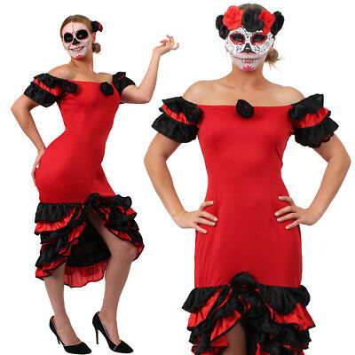 LADIE RED RUMBA DRESS MASK SPANISH DAY OF THE DEAD COSTUME HALLOWEEN FANCY DRESS