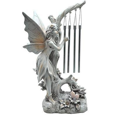 SOLAR ANGEL GARDEN STATUE LIGHT WITH CHIMES memorial sculpture decor CLEARANCE!!
