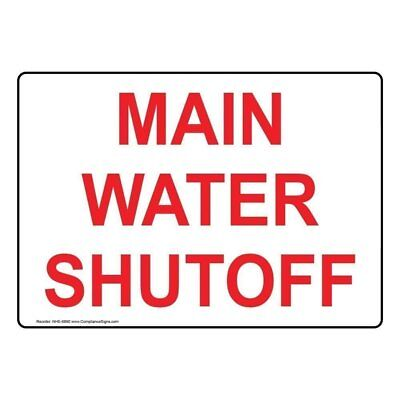 Main Water Shutoff Sign 7x5 Inch Aluminum For Emergency Response Made In Usa