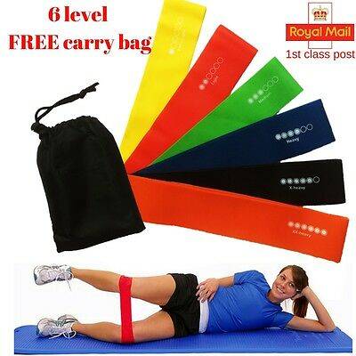 6 Level Resistance Exercise Loop Bands Home Gym Fitness Natural Latex set of 6