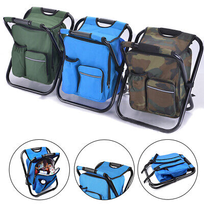 Folding Backpack Beach Chair Seat Stools Cooler Storage Bag For Fishing - Backpack Fishing Chair