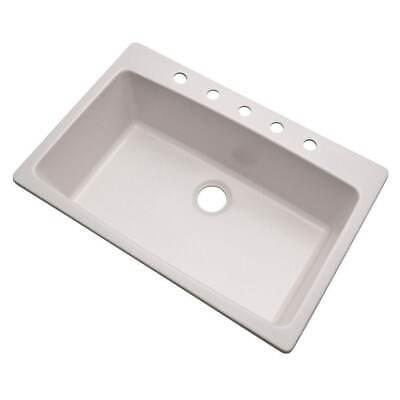 "NEW Mont Blanc Rockland Dual Mount Granite 33"" 5-Hole Single Bowl Kitchen Sink"
