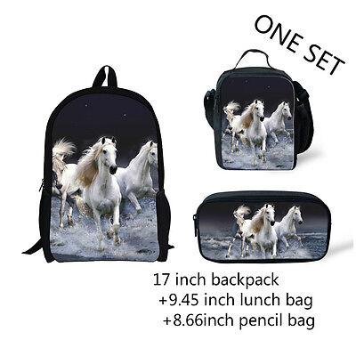 White horse Girl Boy Backpack Lunch box Pencil Pen Bag Back School Rucksack -