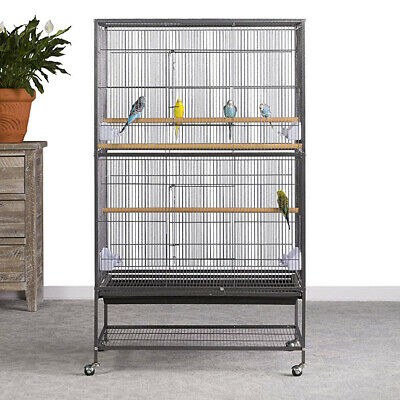 131cm Wrought Iron Extra Bird Cage for Parrot Budgie Canary W Stand Wheel Castor
