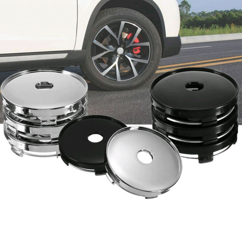 4Pcs Black 60mm ABS Universal Car Wheel Tire Rims Center Hub Caps Cover Decor