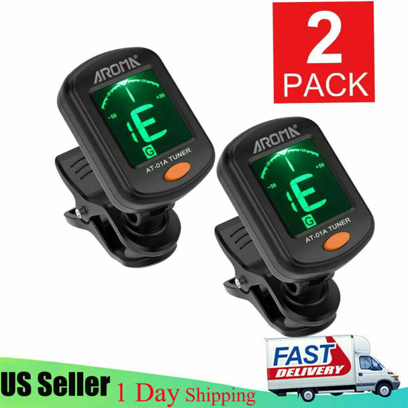 2Pcs Digital Chromatic LCD Clip-On Electric Tuner for Bass Guitar Ukulele Violin