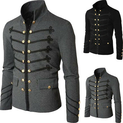 Vintage Men's Military Jacket Rock Victorian Gothic Coat Steampunk Frock Uniform