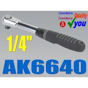 1-4-Inch-Socket-Ratchet-Drive-Wrench-Sealey-AK6640-Vanadium-Chrome-NEW