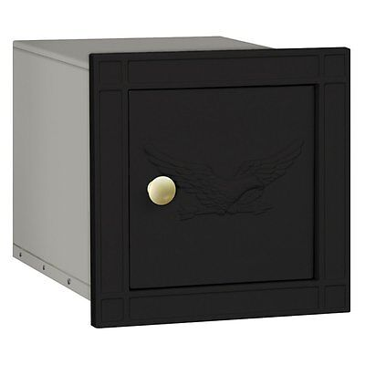 Mailbox Green Eagle Door - Salsbury Cast Aluminum Column Mailbox - Non-Locking - Eagle Door - Black-MAILBOX