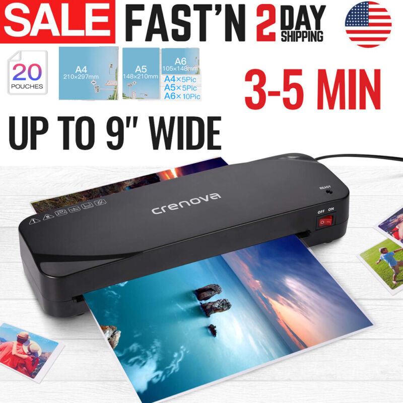 Professional Thermal Hot Laminator Machine for Office A4 Documents Paper Black