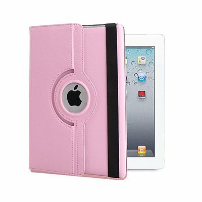 For Apple iPad Mini 1 2 3 360 Rotating Leather Folio Case Back Cover Stand Pink