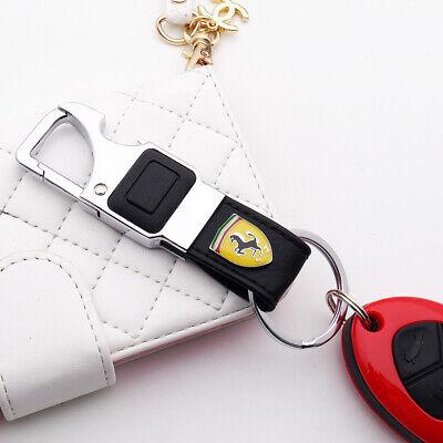 3D Ferrari Alloy Black Leather Keychain Ring LED Flashlight Opener Home Car Gift