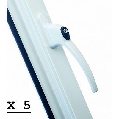 5 x UPVC LOCKING WINDOW HANDLES WITH TEN 5 KEYS- WHITE FINISH - NEW