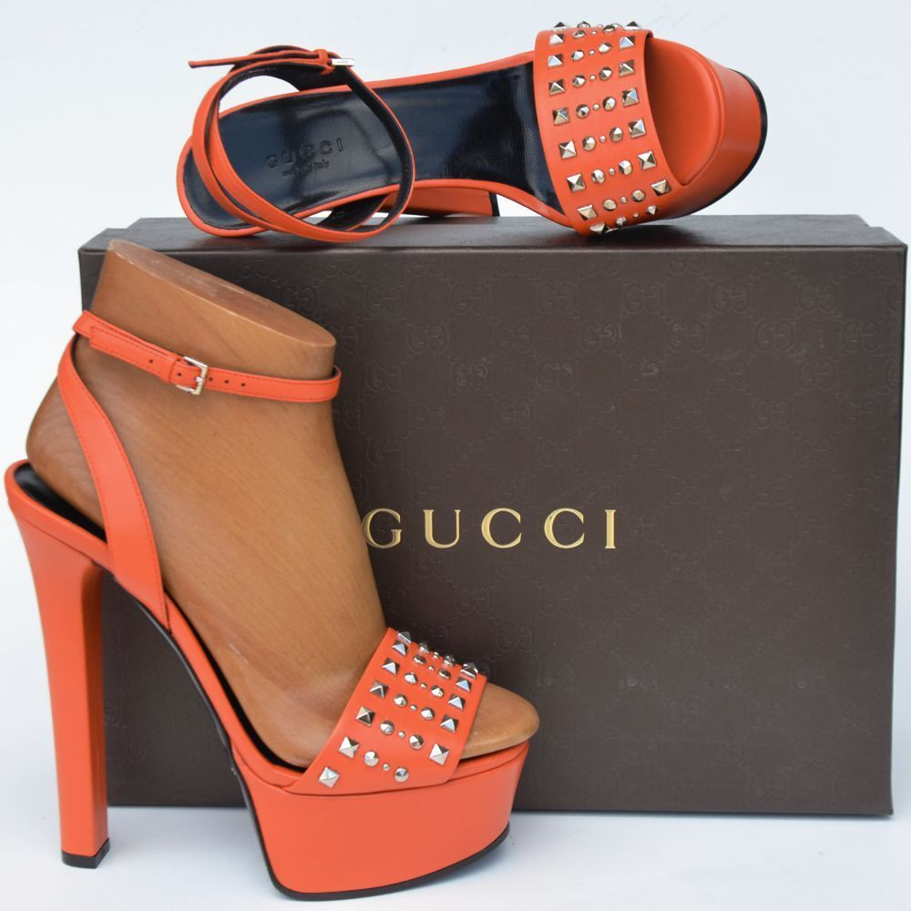 GUCCI New sz 37.5 - 7.5 Womens Platform Heels Shoes Sandals orange studded