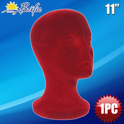 11styrofoam Foam Burgundy Velvet Mannequin Manikin Head Display Wig Hat Glasses