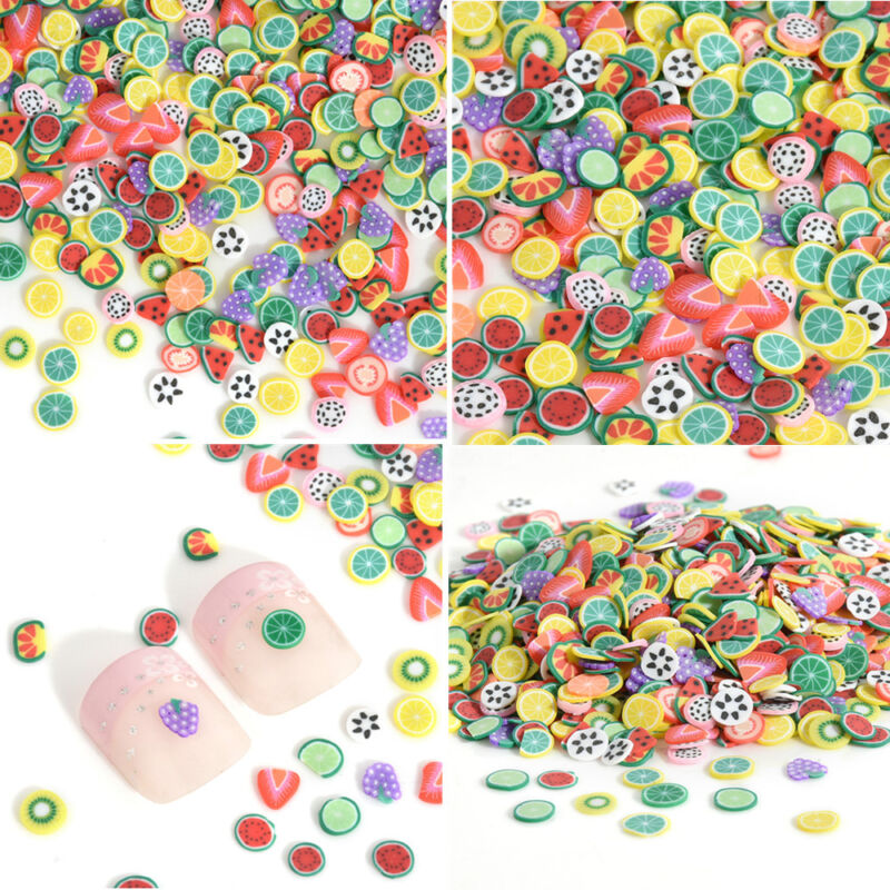 Купить 1000X Nail Art Mix Design Fimo Slices Polymer Clay Stickers Decoration Manicure*