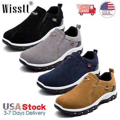 Men's Sports Outdoor Sneakers Running Walking Hiking Shoes Slip On Breathable US Hiking Walking Shoes
