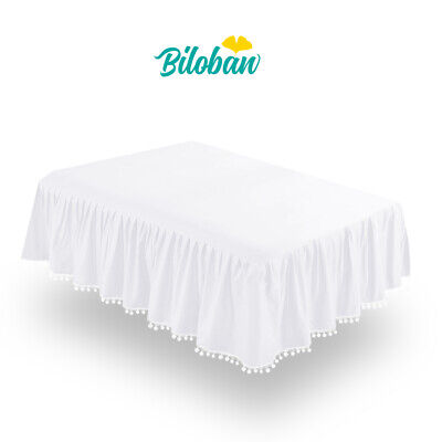 Girl Crib Skirt Baby Bedding Skirt Pleated Dust Ruffle Cribskirt White 52