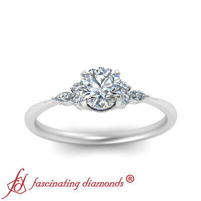 Round Cut And Marquise Diamond 7 Stone Wedding Ring In 18K White Gold 0.75 Ctw 1